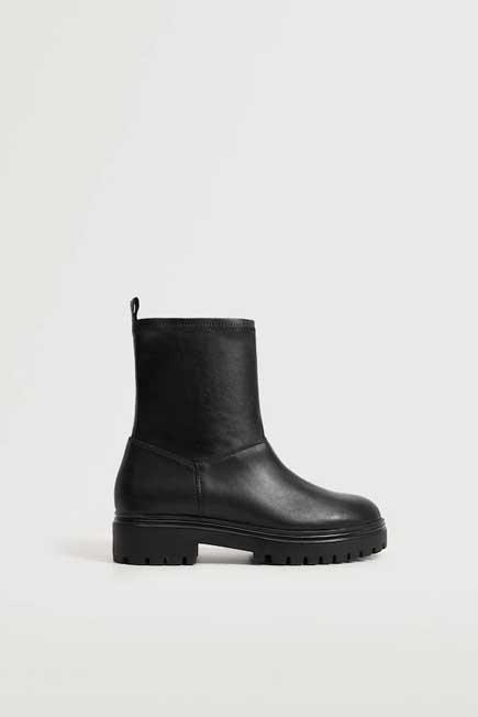 Mango - Black Flat Leather Ankle Boots, Women