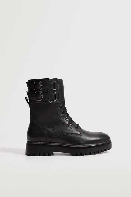 Mango - Black Lace-Up Leather Boots, Women