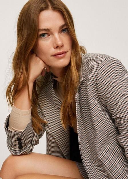 Mango - Brown Wrap Check Suit Jacket, Women