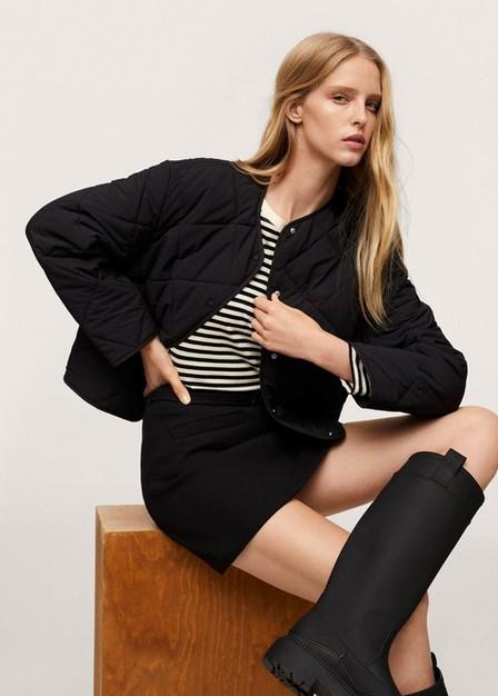 Mango - Black Ultralight Button Down Jacket, Women