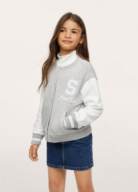 Mango - Medium Grey Bomber-Style Sweatshirt, Kids Girl