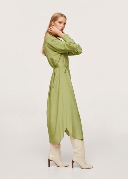 Mango - Green Wrapped Satin Dress, Women