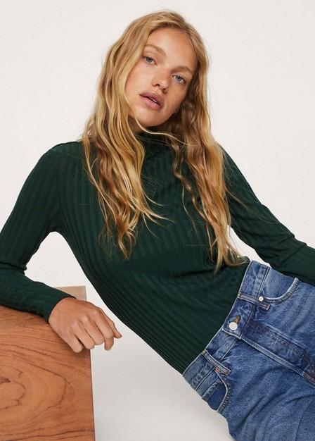 Mango - dark green Ribbed long-sleeved t-shirt, Women