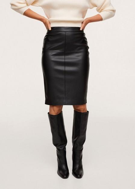 Mango - Black Faux-Leather Pencil Skirt, Women
