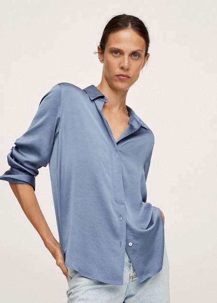 Mango - Blue Satin Finish Flowy Shirt, Women