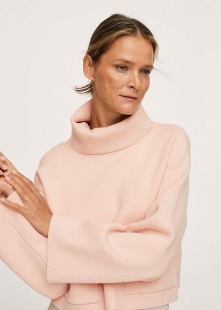 Mango - Lt-Pastel Pink Funnel Neck Knit Sweater, Women