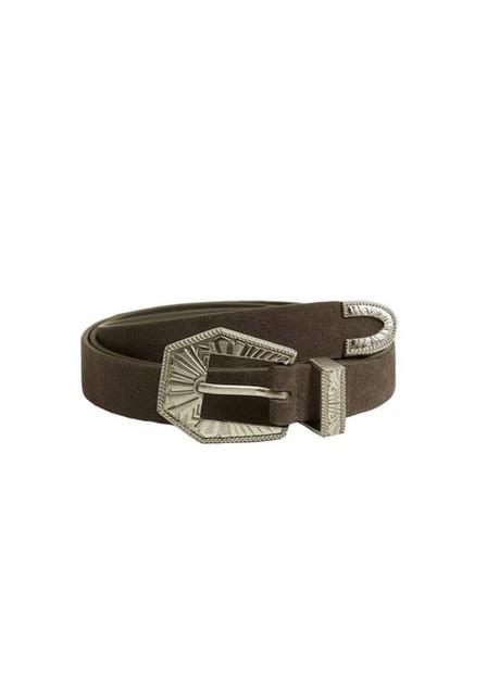 Mango - Medium Brown Engraved Buckle Leather Belt, Women