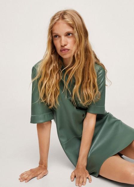 Mango - Green Faux-Leather Shirt Dress, Women