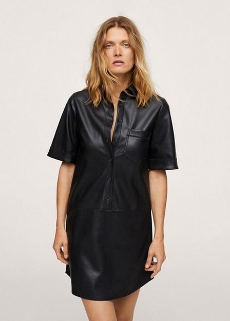 Mango - black Faux-leather shirt dress, Women