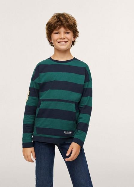 Mango - Green Striped Long Sleeves T-Shirt, Kids Boy