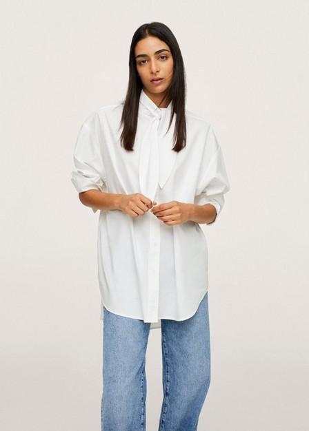 Mango - natural white Bow neck shirt, Women