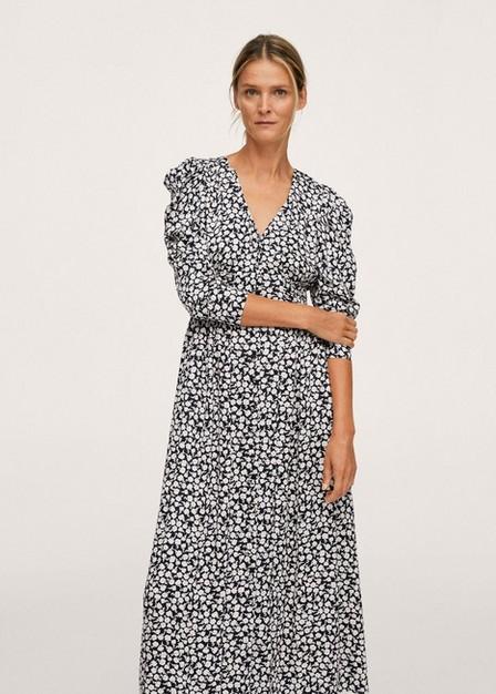 Mango - Black Floral Print Dress, Women