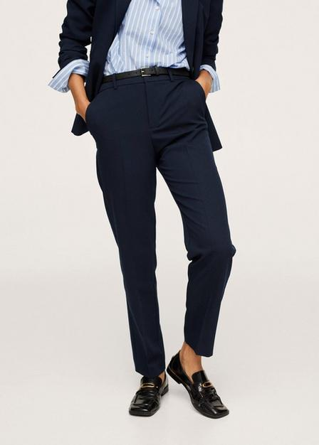 Mango - Navy Belted Suit Trousers, Women
