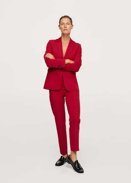 Mango - Red Belted Suit Trousers, Women