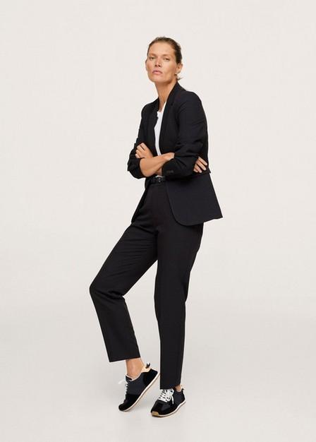 Mango - Black Belted Suit Trousers, Women