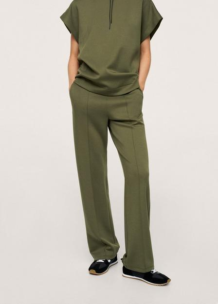 Mango - Beige - Khaki Drawstring Waist Straight Trousers, Women