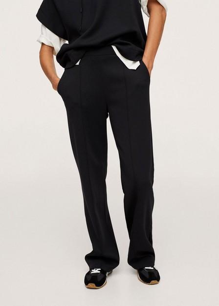 Mango - Black Drawstring Waist Straight Trousers, Women