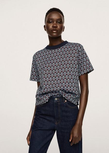 Mango - Navy Printed Cotton-Blend T-Shirt, Women