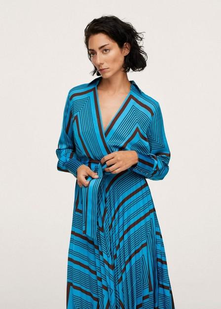 Mango - Medium Blue Striped Midi Dress, Women