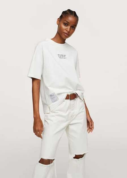 Mango - Natural White Embroidered Cotton Message T-Shirt, Women