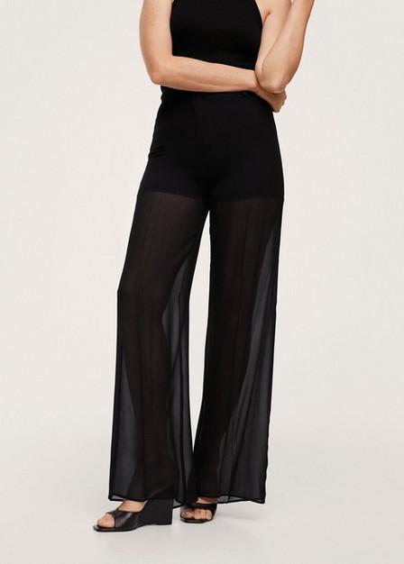 Mango - black See through palazzo trousers, Women
