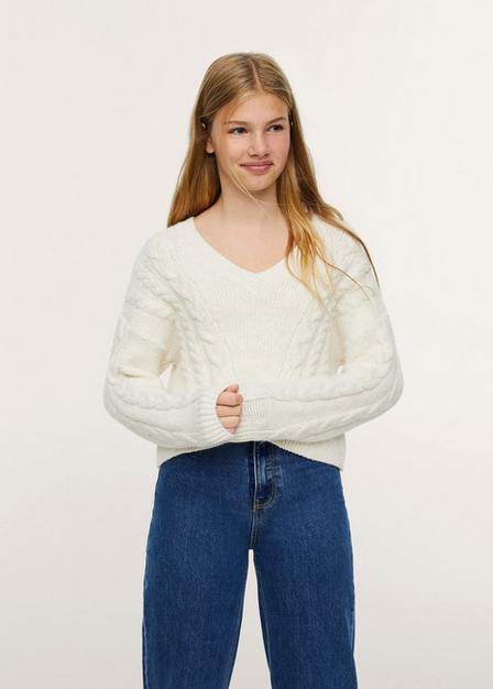 Mango - lt pastel brown Cable-knit sweater, Kids Girl