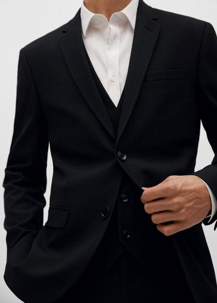 Mango - black Super slim-fit suit blazer, Men