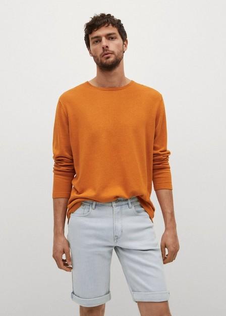 Mango - open blue Light-wash denim shorts, Men