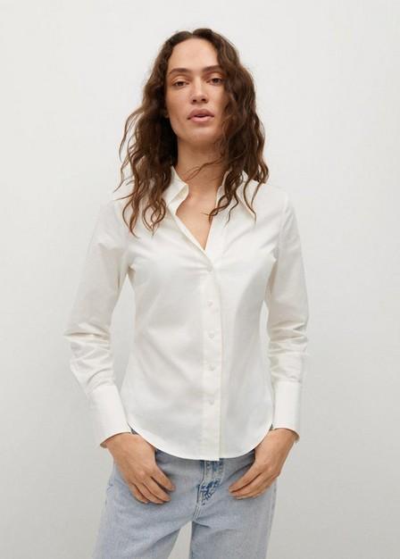 Mango - White Essential Cotton-Blend Shirt, Women