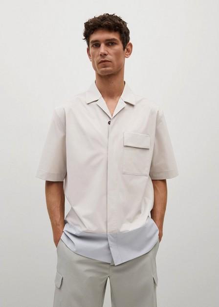 Mango - Lt-Pastel Grey Breathable Color Block Shirt, Men