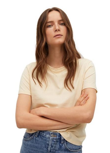 Mango - Yellow Essential Cotton-Blend T-Shirt, Women