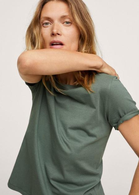 Mango - beige - khaki 100% cotton T-shirt, Women