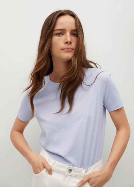 Mango - Lt-Pastel Blue Essential Cotton-Blend T-Shirt, Women
