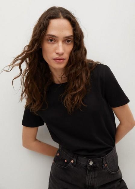 Mango - black 100% cotton T-shirt, Women