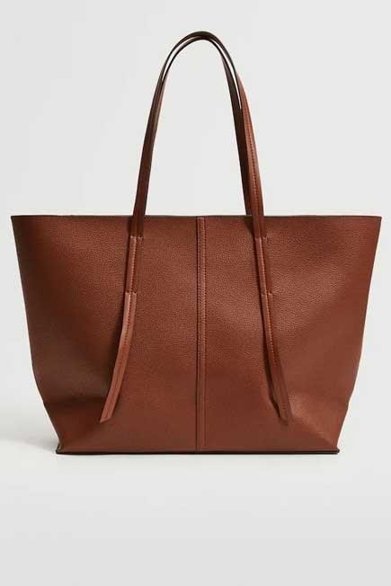 Mango - Brown Pebbled Shopper Bag, Women