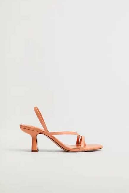 Mango - lt-pastel orange Leather straps sandals, Women