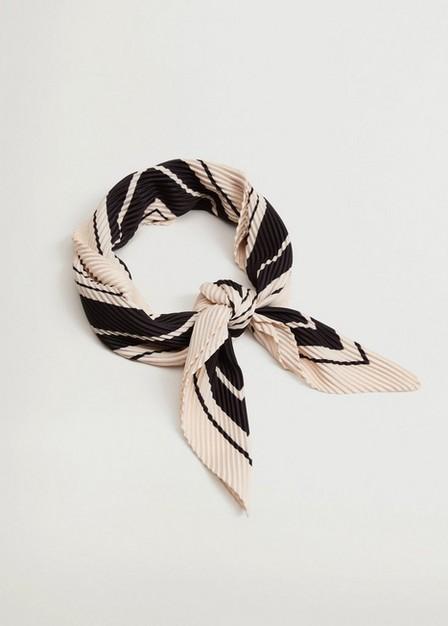 Mango - black Striped printed scarf, Women
