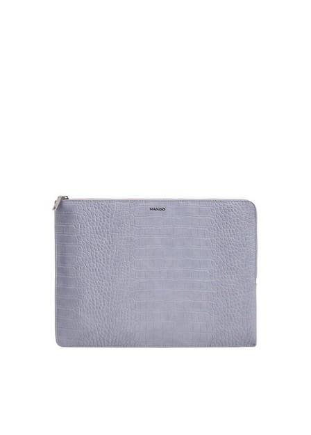 Mango - lt-pastel purple Croc-effect laptop case, Women