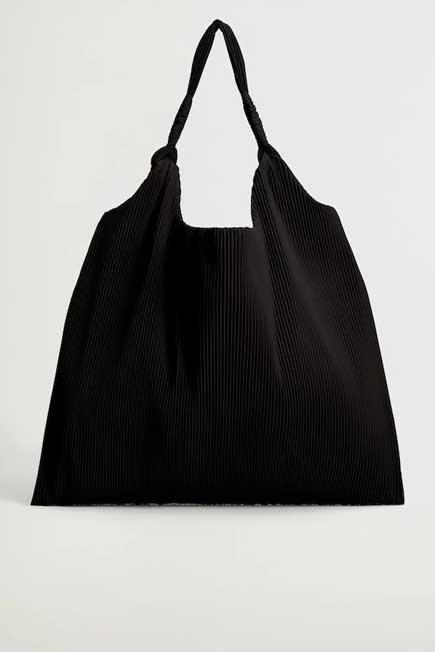 Mango - Black Pleated Bucket Bag, Women