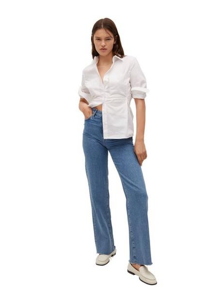 Mango - White Pleated Cotton Shirt, Women