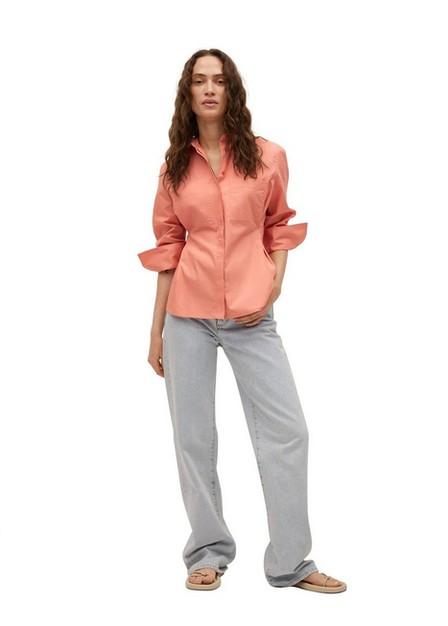Mango - Bright Red Pleated Cotton Shirt, Women