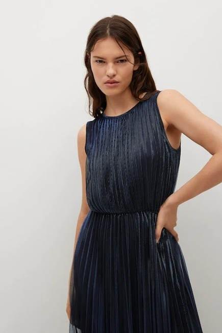 Mango - Navy Metallic Pleated Dress, Women