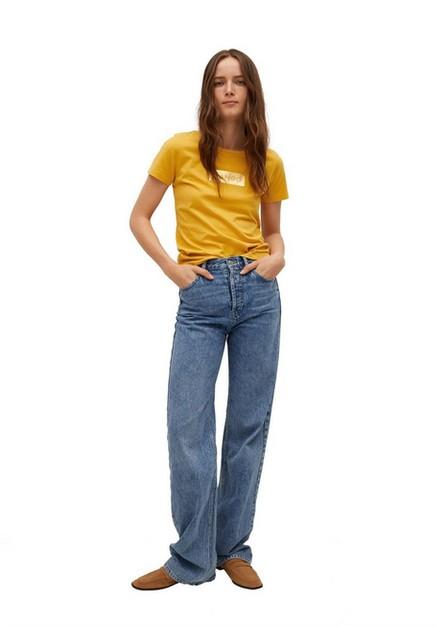 Mango - Medium Yellow Recycled Cotton Log T-Shirt, Women