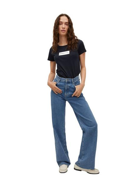 Mango - Navy Recycled Cotton Log T-Shirt, Women