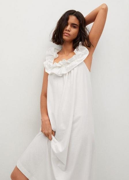 Mango - Natural White Frill Cotton Dress, Women