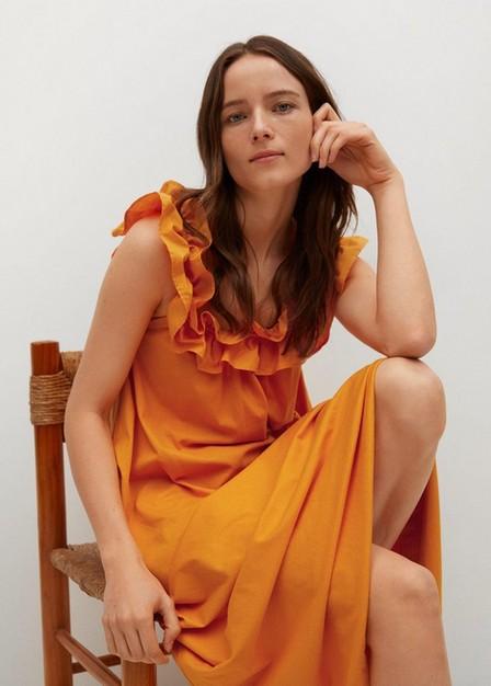 Mango - Orange Frill Cotton Dress, Women