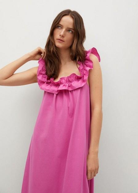 Mango - Bright Pink Frill Cotton Dress, Women