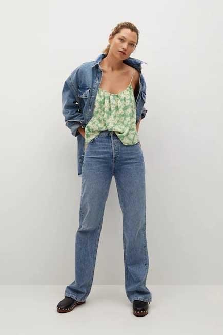 Mango - Green Floral Print Top, Women