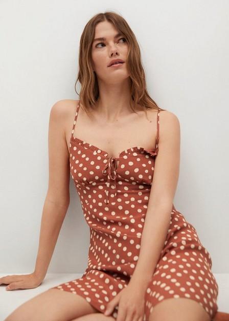 Mango - Medium Orange Printed Short Dress, Women