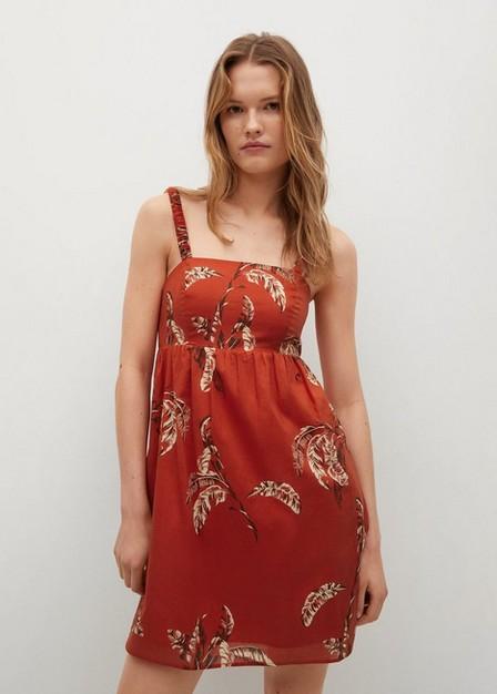 Mango - red Printed cotton dress, Women